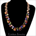 High quality multicolor luxury necklace,zircon Mona Lisa AAA Cubic Zirconia necklace jewelry  for women,rose gold plated