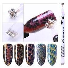 1pcs doppio attacco cat eye magnetica fiore striscia modello per gel UV polacco rosso manico magnetica gel manicure unghie artistiche strumento