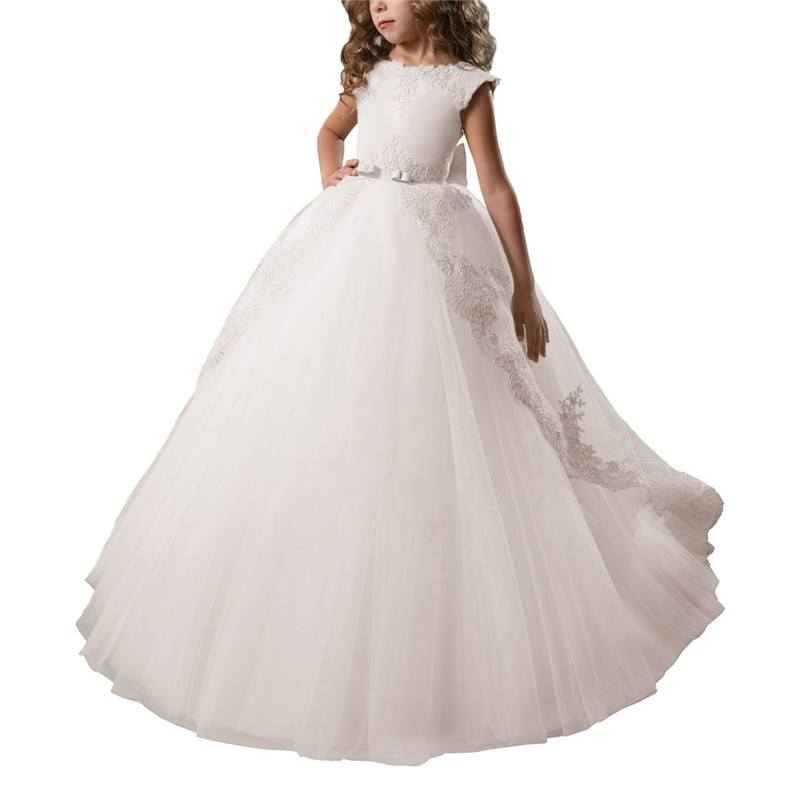 bed27de7fc 2019 Children Clothing Lace Princess Formal Dresses Kids Girl Bow Wedding  Evening Prom Gown Baby Girls Xmas Party Vestido Q958