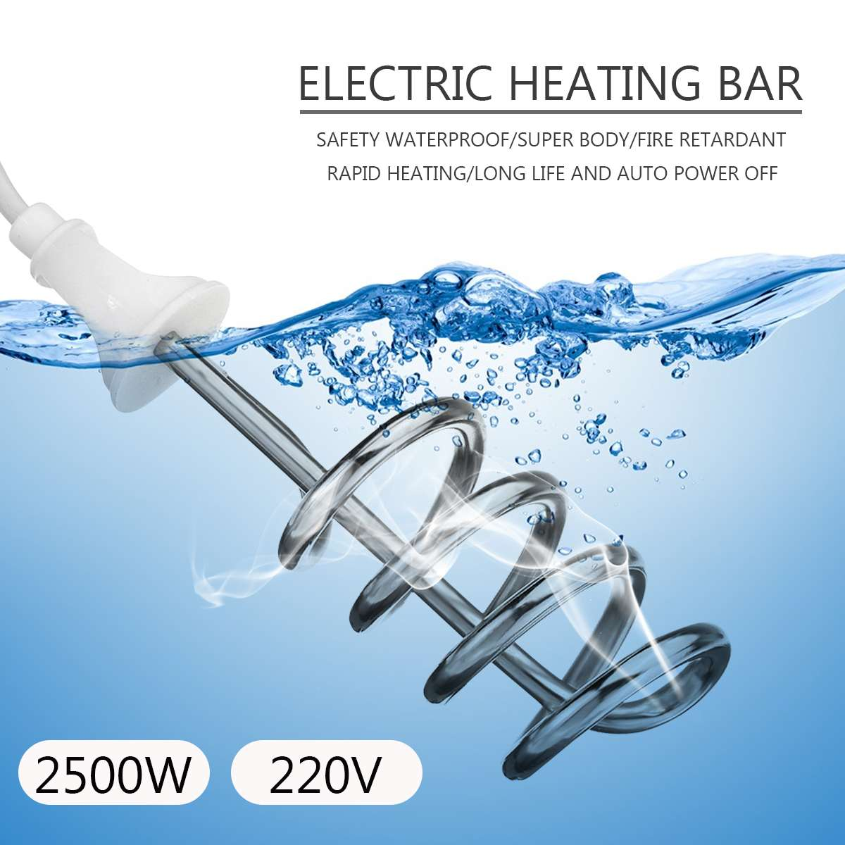 2500W 220V Hook Type Water Heater Portable Electric Immersion Element Boiler For Bath Tub Pool For Bathroom Outdoor Camping