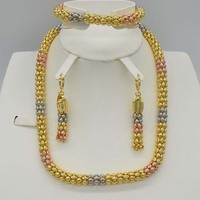 Wedding Gold Color 3 Color Crystal statement necklace Jewelry Sets Party Women African Beads Bridal Earrings Accessories