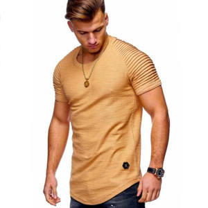 2019 New Fashion Solid Color Men's T Shirt Mens Short Sleeves Stripe Fold Slim Fit Hipster Casual tee shirt man Tops Tees M-3XL