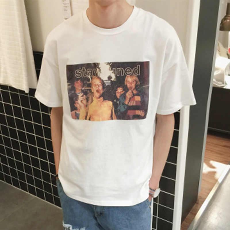 韓国シックなレトロ人格女性 Tシャツカジュアルスリム半袖男性女性 Tシャツ 2019 夏の新ファッション愛好家トップス