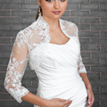Customized Cour+Size Hot White Applqiues Lace Beaded Bolero Jacket For Wedding Bridal Dresses Special Occasion 3/4 Sleeves