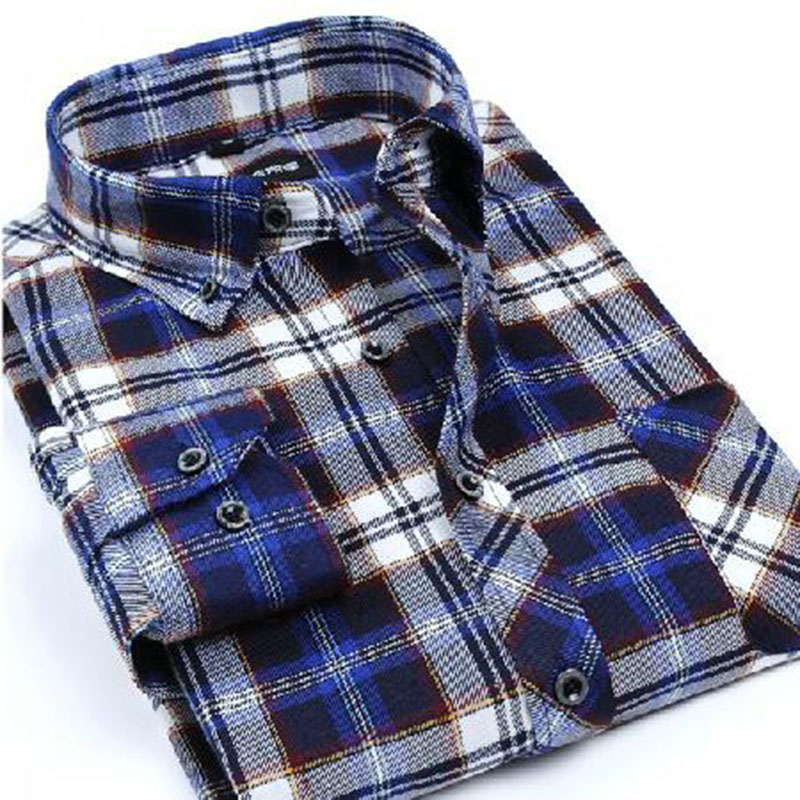Winter Autumn Wear Men Long Sleeve Flannel Grinding Plaid Printed Shirt Camisa,Cotton High Quality Thicken Warm Size S-4XL