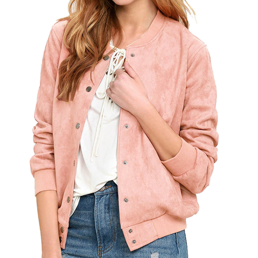 Active Autumn Women Plain Long Sleeve Long Line Button Bomber Jacket Coat Collar Top Girl Plus Size Casual Baseball Long Sleeves Aromatic Flavor