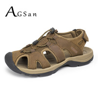 AGSan Men Sandals Slippers Genuine Leather Mens Beach Shoes Summer Sandalia Masculina Sandals Men Big Size