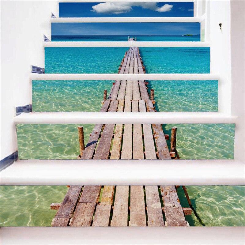 Творческий самоклеящейся лестницы наклейки DIY Beach Pier наклейки лестницы наклейки украшения лестницы украшения дома 6 шт. комплект