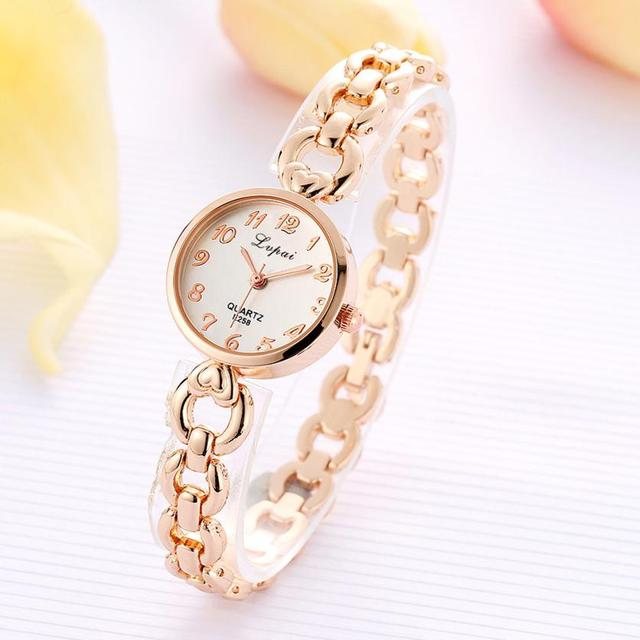 LVPAI 2018 Watch Women Gold Vintage Luxury Clock Women Bracelet Watch Ladies Brand Luxury Stainless Steel Women Clock Gifts B50