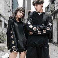 Творческий Дизайн полой металлической пряжкой хип-хоп Толстовки Для мужчин любовника Punk Rock кофты с длинным рукавом Свободные Пуловеры для ...