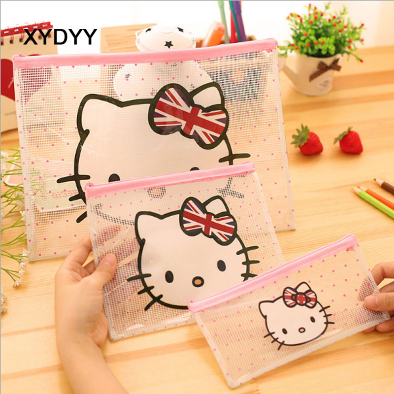 XYDYY Cartoon Cat Prints Women Cosmetic Cases Travel Transparent Waterproof PVC Cosmetic Bags Girls Makeup Organizer Pouch Bags
