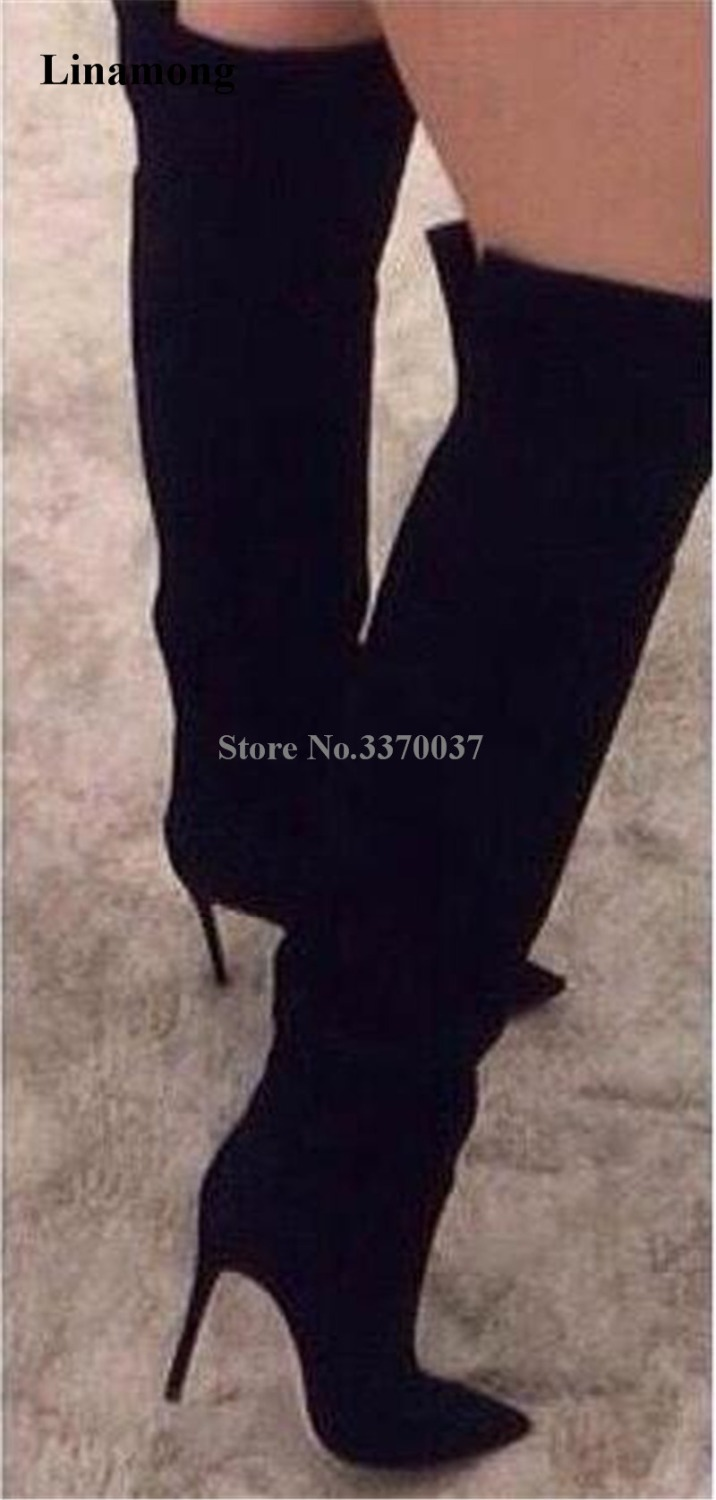 Women New Fashion Black Suede Leather Pointed Toe Over Knee Boots Sexy Long High Heel Boots