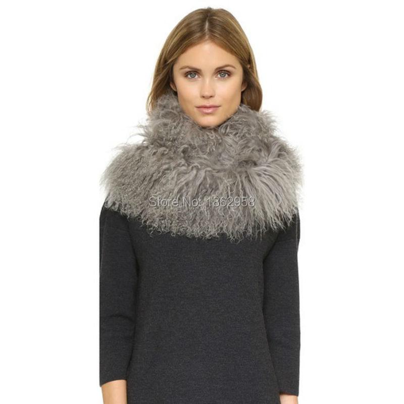 Womens Genuine Mongolian Fur Collar Currents Hot Top Real Lamb Fur Scarves Wraps