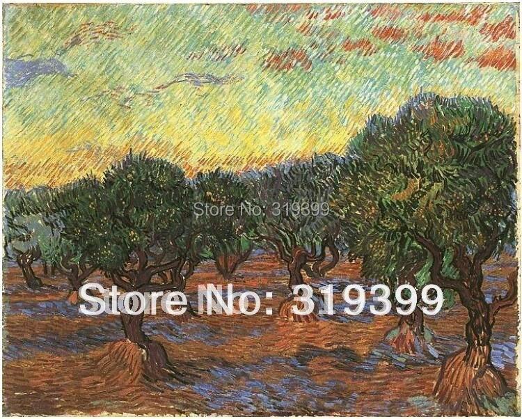 Vincent Van Gogh peinture à l'huile reproduction sur toile de lin, Olive bosquet Orange ciel, 100% fait à la main, livraison gratuite, qualité du musée