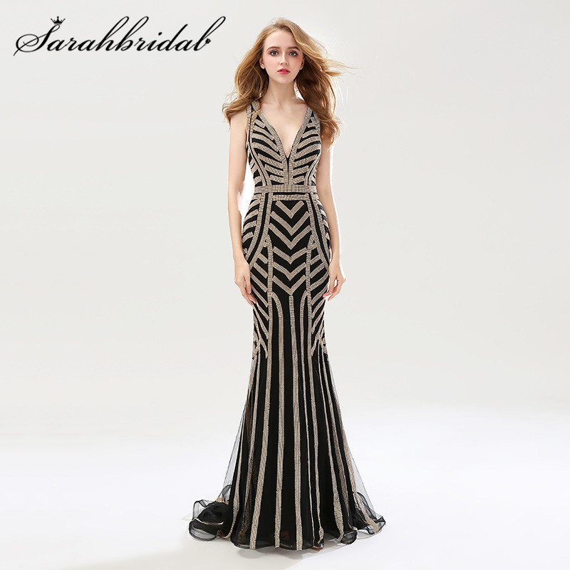 Mermaid Formal Evening Dresses Long Sexy V Neck Cap Sleeves Stunning Beading Crystals Backless Prom Party