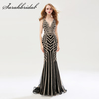 Mermaid Evening Formal Dresses Dài Sexy V Neck Cap Sleeves Stunning Beading Crystals Backless Prom Đảng Gowns CC476