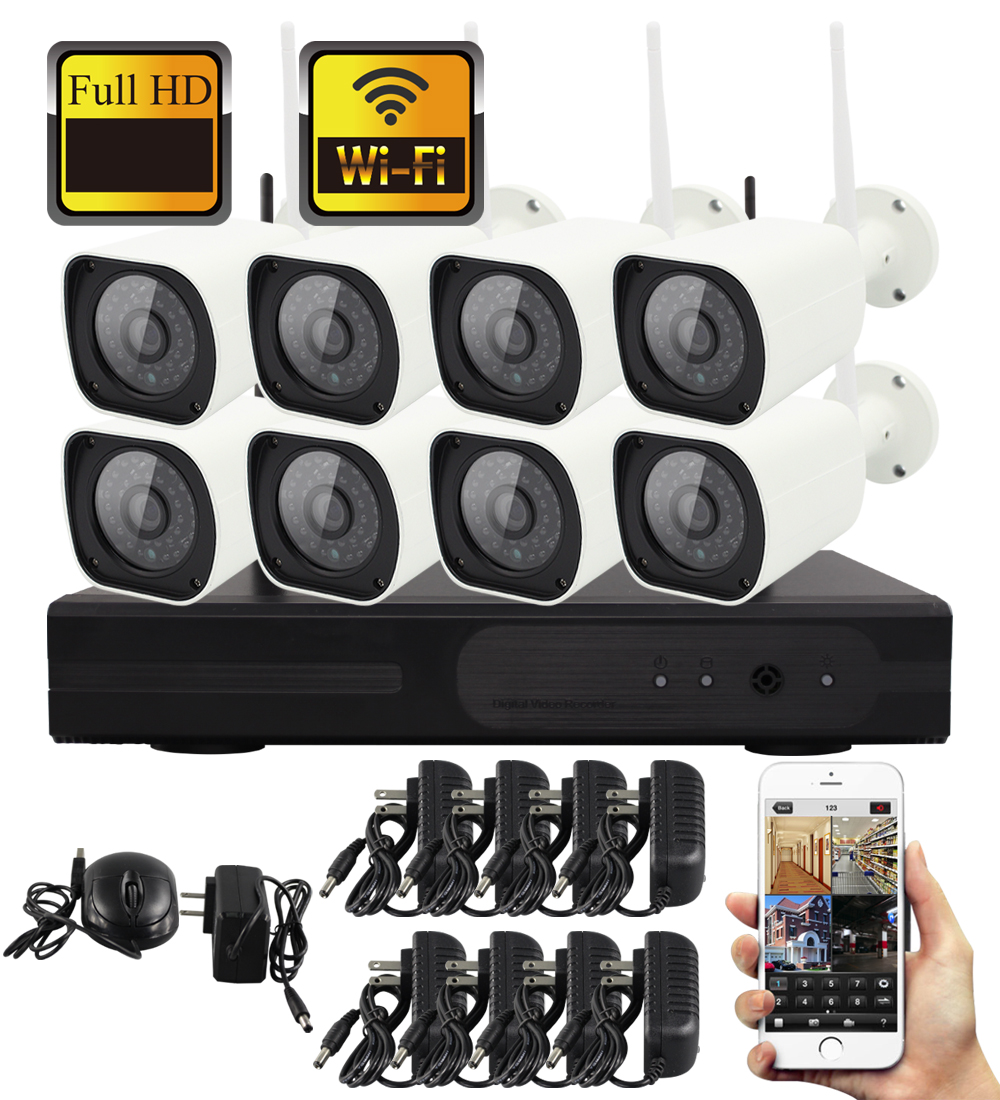 Yobang Security Wireless 8CH CCTV Security Surveillance System Wifi NVR Kit +960P 1.3MP Outdoor Waterproof WIFI Video IP CameraYobang Security Wireless 8CH CCTV Security Surveillance System Wifi NVR Kit +960P 1.3MP Outdoor Waterproof WIFI Video IP Camera