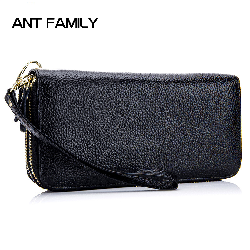 Double Zipper Genuine Leather Wallet Women Long Wallets Female Clutch Coin Purse Ladies Cowhide Leather Wallet Large Capacity cardamom cowhide genuine leather handbag female solid double zipper wallet women large capacity coin small bag purse phone bag