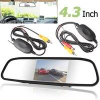 4.3 인치 디지털 TFT LCD 자동차 후면보기 모니터 자동차 백미러 주차 모니터 + 2.4 그램 무선 컬러 비디오 송신기 수신