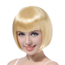 "10"" Short Straight Cosplay Bob Wig Synthetic Hair Blonde Pink Red Black Cosplay Party Halloween Wigs With Bangs Heat Resistant(China)"