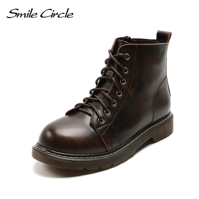 2b55ef9770f Smile Circle Genuine Leather Booties for Women shoes Autumn Winter fashion  Retro lace up Flat work Comfortable boots