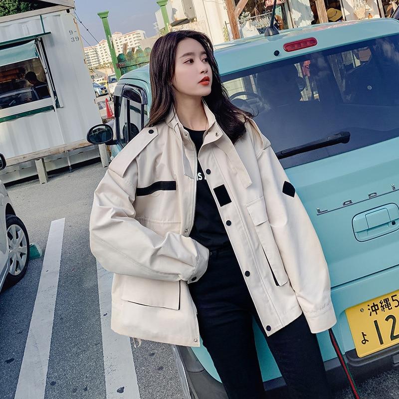 LANMREM 2019 Spring Korean Fashion Design Patch Pockets Tool Coat For Women Female Long Sleeve Large