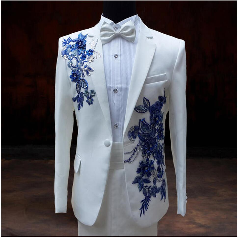 New Men\'s wedding groom dress paillette suits formal dress white ...