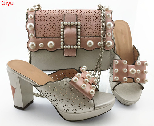 Doershow Nigeria Pink Sandal Shoes And Bag To Match High Quality Fashion African Italian Shoes And Matching Bag Set!HVC1-46