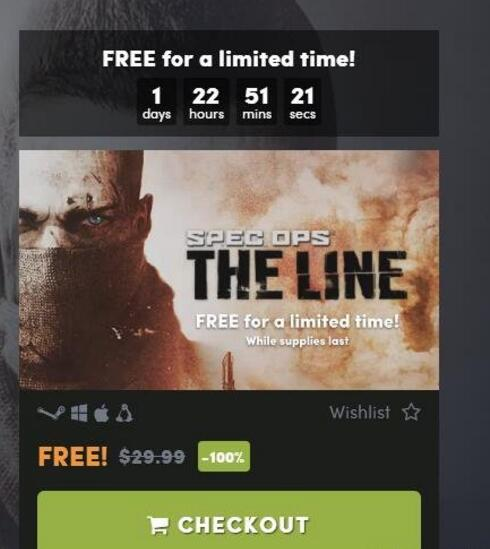 HB限时领Steam游戏:Spec Ops The Line