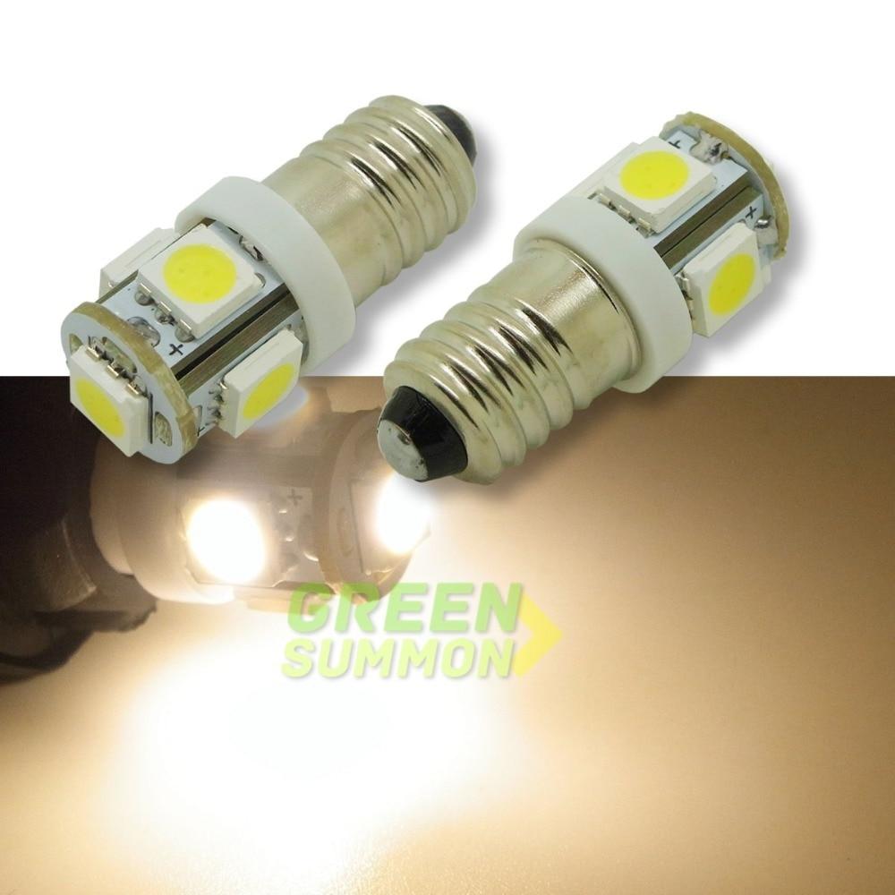4pcs/lot  E10 EY10 T3.25 5-SMD 5050 LED Warm White Lights Miniature Screw Bulb For DIY LIONEL DC 12V