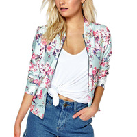 Fashion Ethnic Style Women Jacket Long Sleeve Flowers Printing Zipped Coat Autumn Winter Ladies Girls Casual Outwear H8