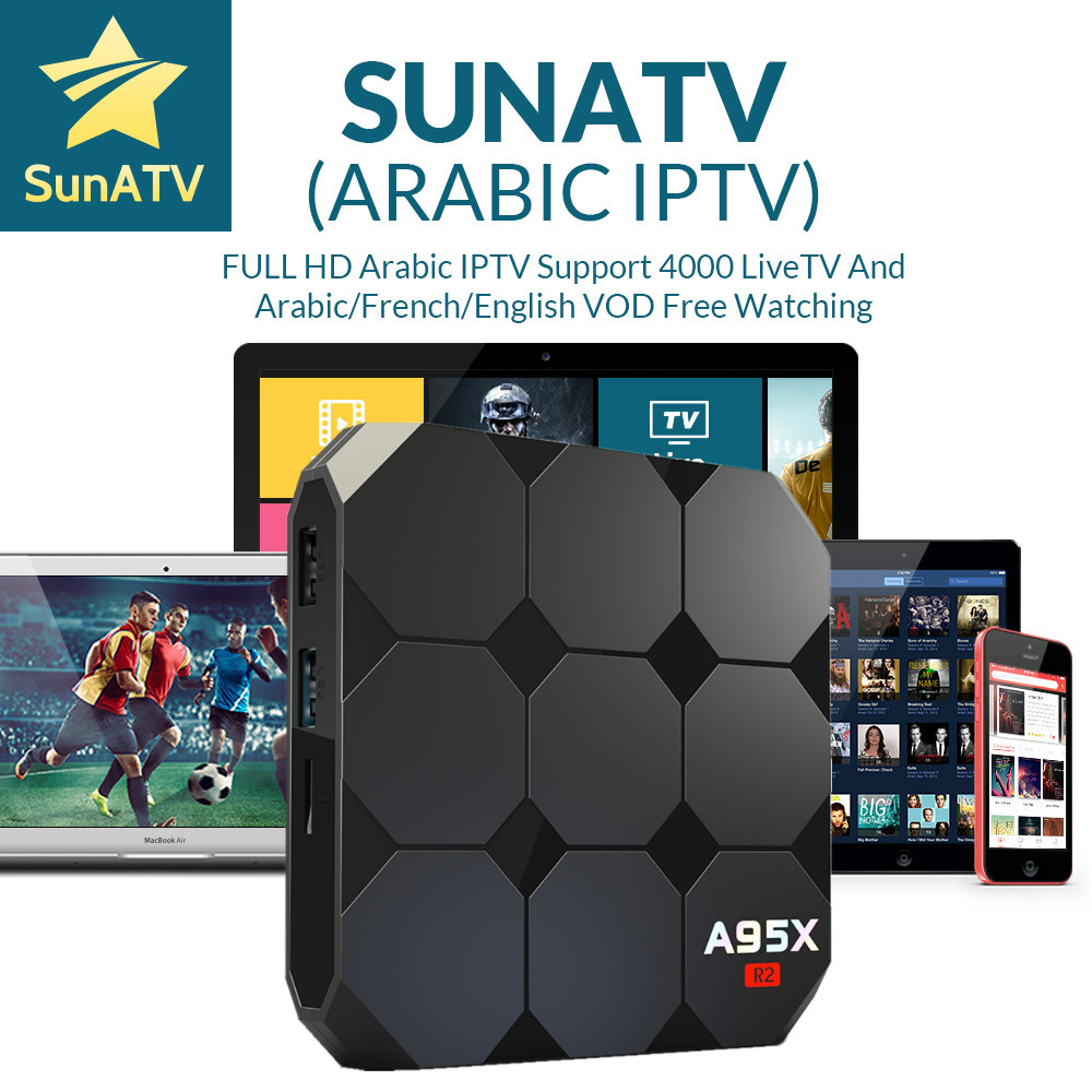 1 Year French IPTV Arabic IPTV VOD Free with A95X R2 Smart TV Box Android 7.1 Amlogic S905W Android TV Box 2/16G Media Player