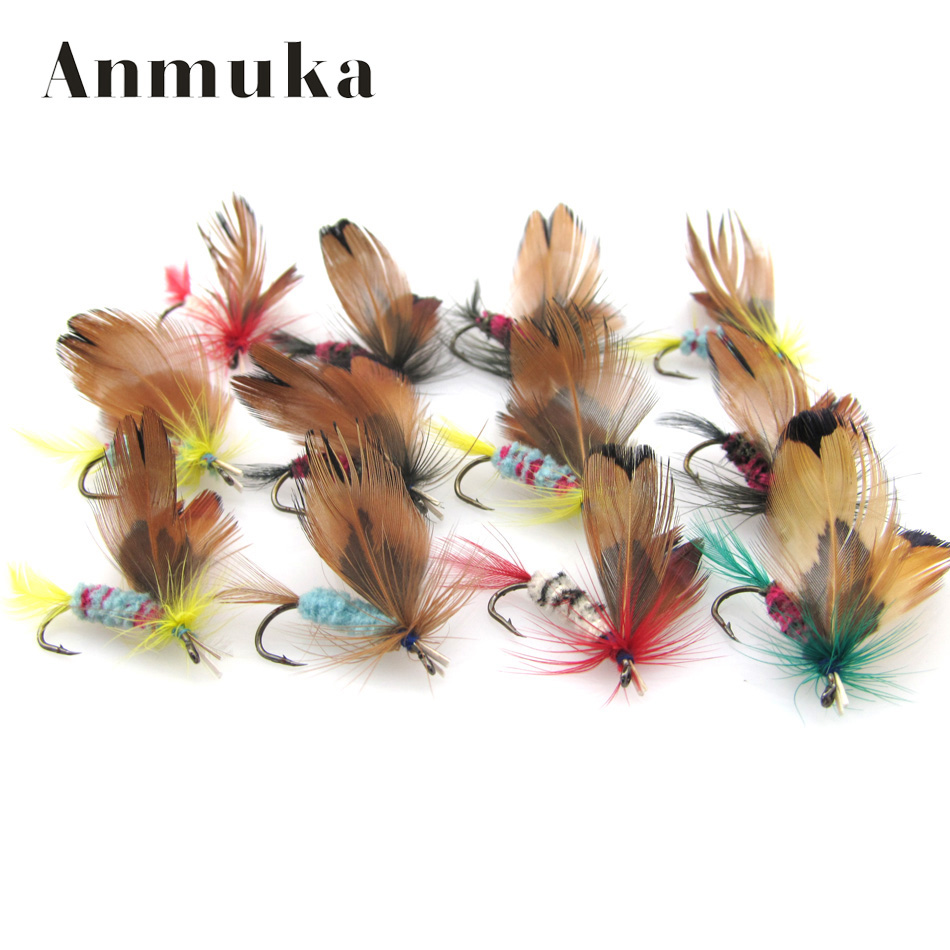 Anmuka 12Pcs 1dozen Fishing Lures Fly fishing Butterfly Hooks Feather bait Hook dry fly hook, Steel Hooks fishing bait 81019 new high heel thick heel ankle boots for women platform lace up women boots casual shoes woman