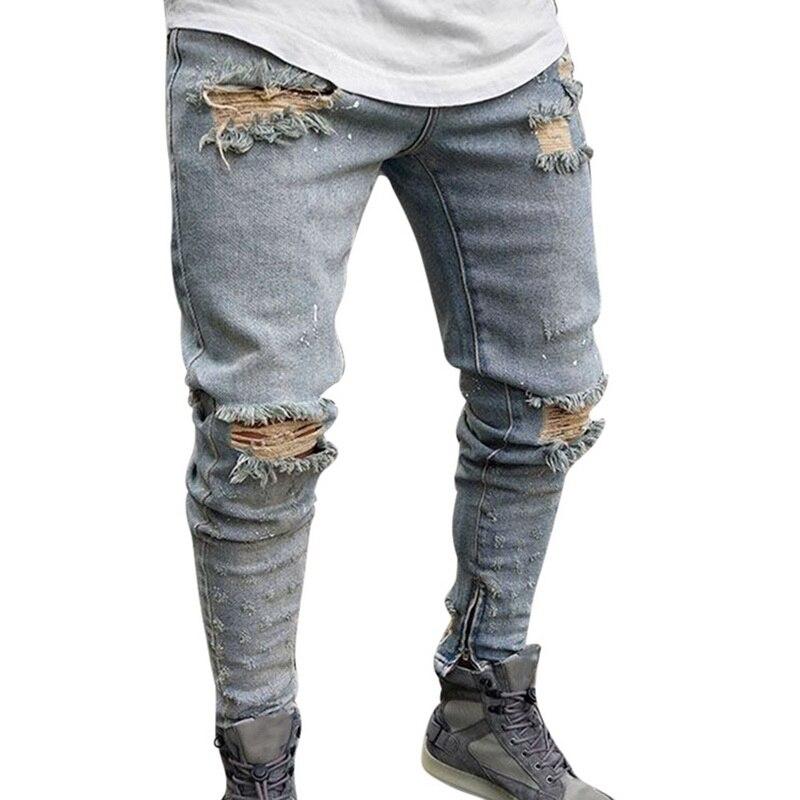 NIBESSER, мужские брендовые обтягивающие джинсы, брюки, повседневные брюки,, джинсовые черные джинсы, homme, Стрейчевые узкие брюки размера плюс, уличная одежда 3XL - Цвет: blue 7