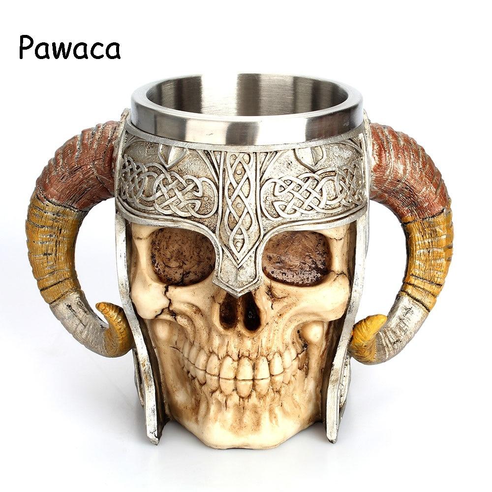 pawaca vintage 3d skeleton rider goat horn mug 450ml skull mug horse