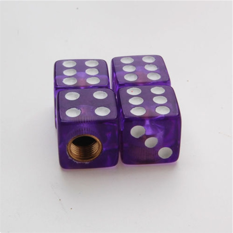 4Pcs/set 6 Colour Dice Style Wheel Tire Valve Stems Caps Air Dust Covers Set Fit for Universal Cars Valve Caps Car Accessories