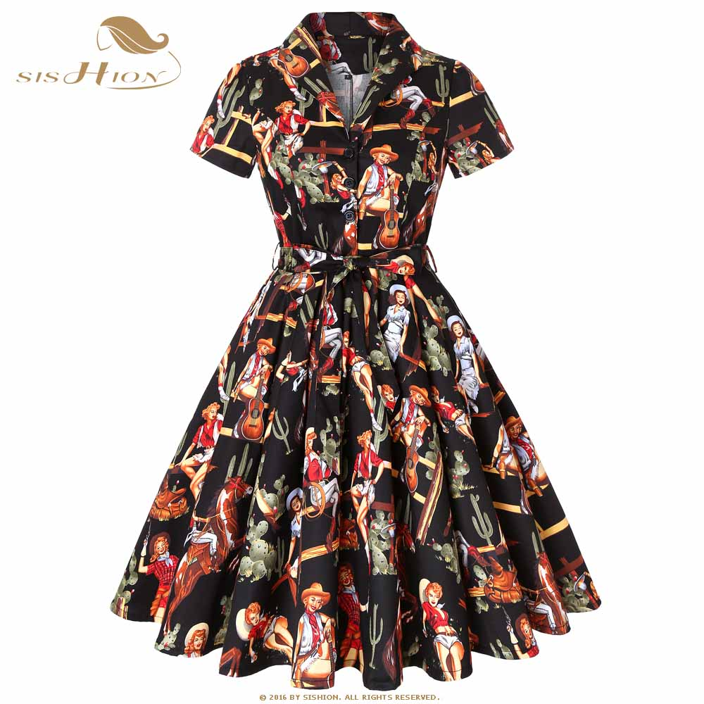 US $19.98 20% OFF|SISHION Cotton Plus Size Retro Vintage Rockabilly Dress  Black with Cowgirl Print Short Sleeve Women Ladies Summer Dress SD0002-in  ...