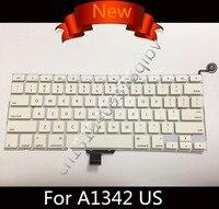 Yeni Beyaz ABD İngilizce QWERTY klavye için Macbook Pro 13 '' Güç Düğmesi ile yekpare A1342 2009 2010 MC207 MC516 hiçbir arka ışık