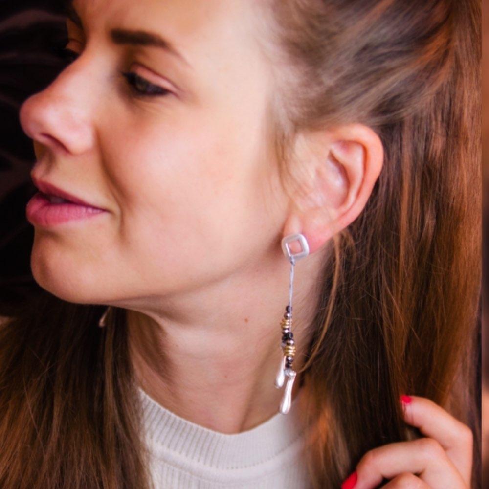 Vintage Silver Women Earrings Stones Beads Jewelry Wholesale Women Dangle pendientes brincos Handmade Original earring 2018 in Drop Earrings from Jewelry Accessories