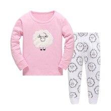 Купить с кэшбэком Children's Spring Autumn tracksuit suit pants+t shirt long sleeve pink girls pajamas suits Cotton Pijamas Kids Sleepwear