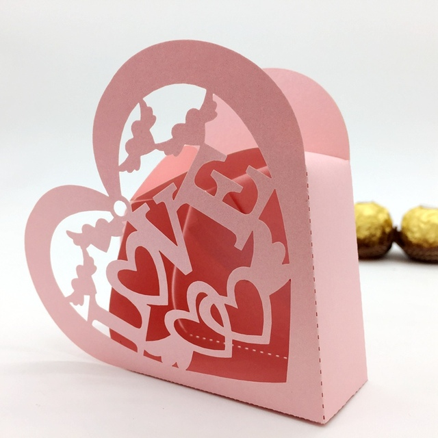 20pcs Set Heart Shaped Paper Box Packaging Chocolate Paper Gift Box