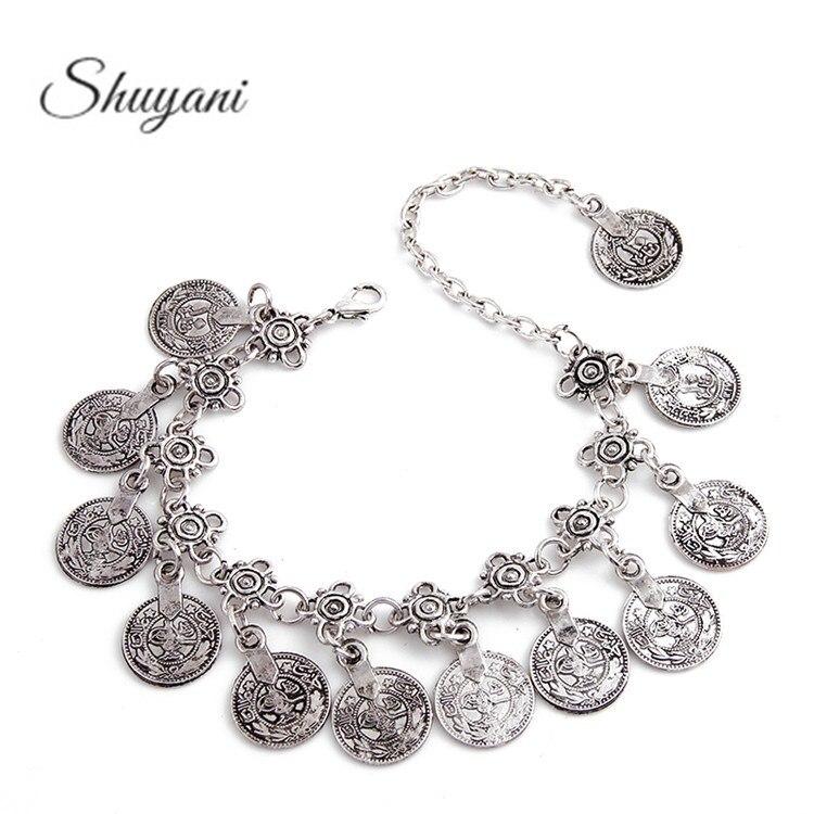 Bohemian Antalya Bracelet Silver Vintage Flower Statement Bracelet Boho Coachella Festival Turkish Jewelry Coin Jewelry