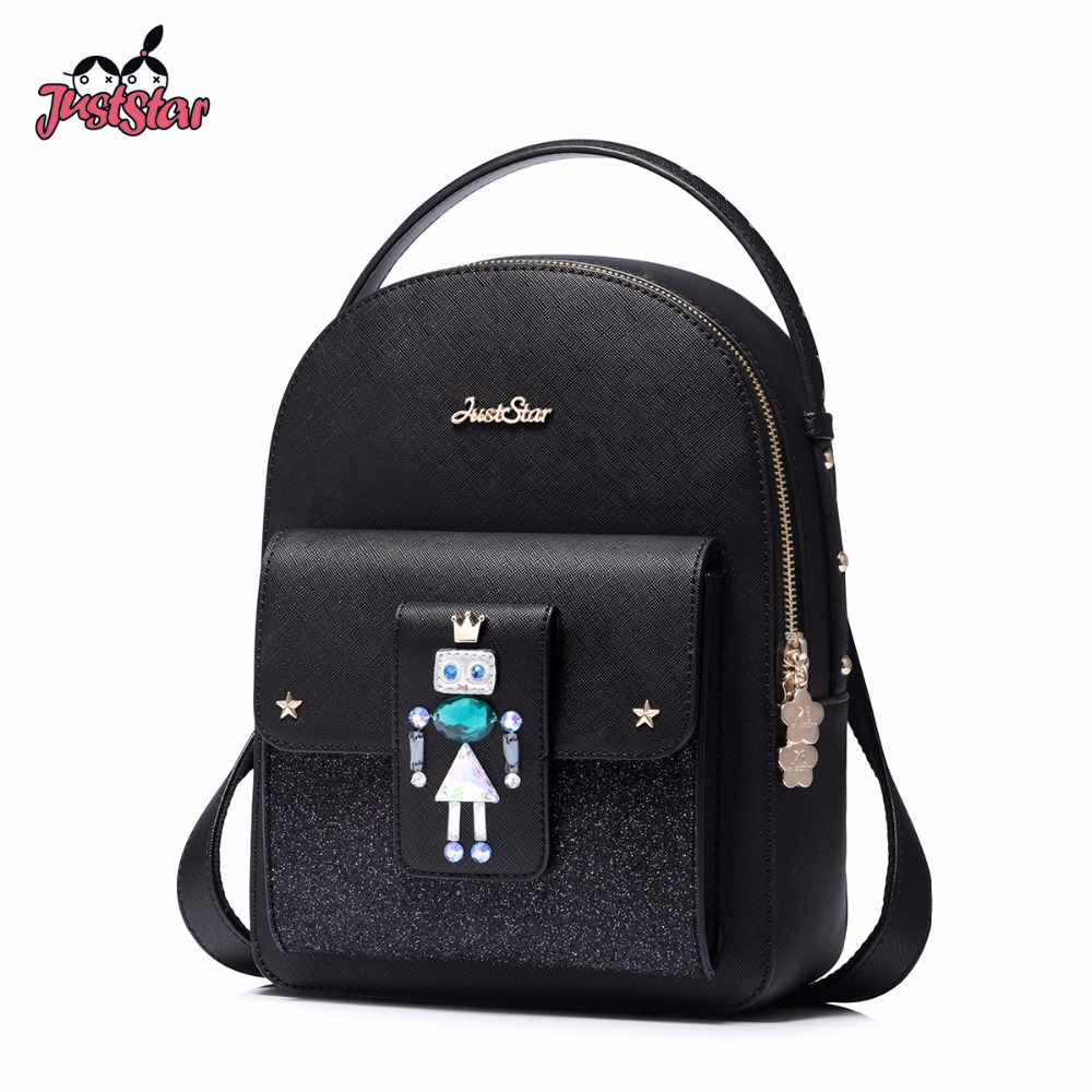 JUST STAR Famous Brand Women's Leather Backpack Female Cartoon Robot Beading Double Shoulder Bags Ladies Leisure Travel Rucksack