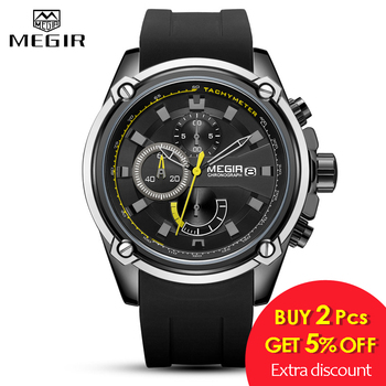 MEGIR Fashion Men Watch Top Brand Luxury Chronograph Waterproof Sport Mens Watches Silicone Automatic Date Military Wristwatch 1
