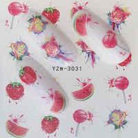 Calcomanías de uñas ZKO frutas arte de uñas calcomanías de tobogán de agua transferencias flor caballo regalo lindo