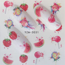 цена на ZKO Fruit Nail Decals Stickers Nail Art Water Slide Decals Transfers Flower Horse Gift Cute