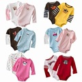 5 Pieces Autumn Baby Bodysuits Cartoon Long Sleeved Boys Girls Clothing Triangle Newborn Bodysuits Cotton Striped 3-24M V20