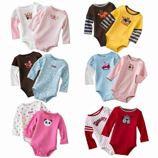 5 peças outono bebê clothing triângulo bodysuits recém-nascidos bodysuits das meninas dos meninos dos desenhos animados manga comprida de algodão listrado 3-24 m v20