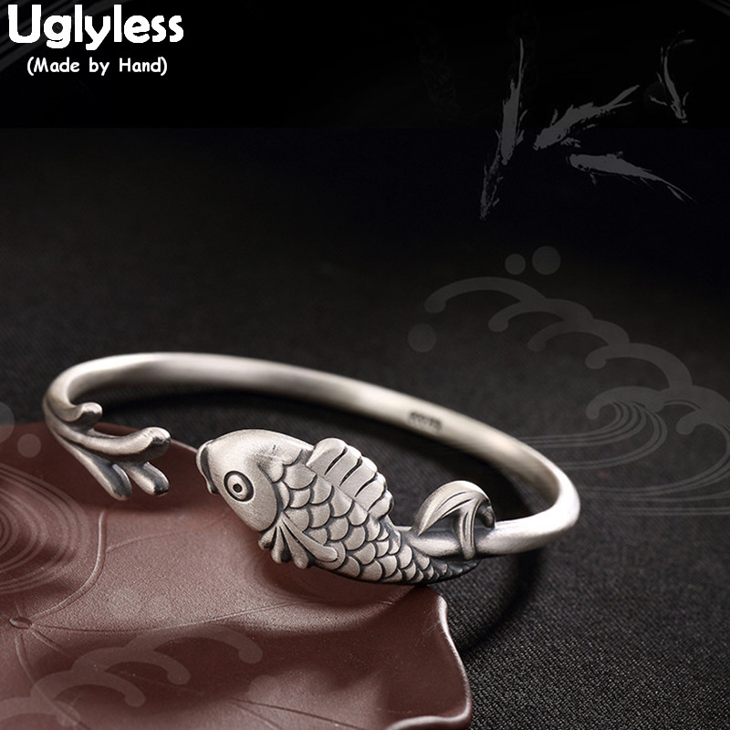 Uglyless Real 999 Fine Silver Jewelry Handmade Engraving Animal Bangles for Women Antique Tribe Totem Fish Bangle Ethnic BijouxUglyless Real 999 Fine Silver Jewelry Handmade Engraving Animal Bangles for Women Antique Tribe Totem Fish Bangle Ethnic Bijoux