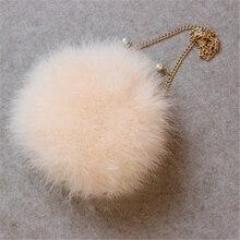 c5c4de365ffc3 الشتاء حقائب اليد الفراء أفخم الكرة أكياس حقيبة كتف صغيرة أزياء النساء تركيا  الشعر أكياس لينة